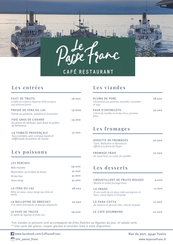 Carte restaurant Passe Franc Yvoire lac