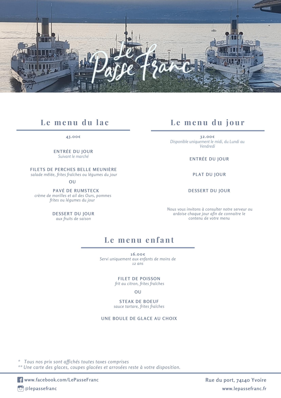 Carte restaurant Passe Franc Yvoire